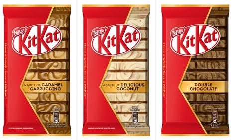 Die KitKat-Schokoladentafeln sind in drei Geschmacksvarianten verfügbar (Foto: Nestlé)