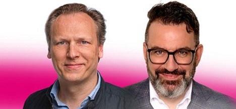 Hans-Christian Schwingen (li.) übergibt den Posten des Markenchefs der Deutschen Telekom an Ulrich Klenke (Foto: Deutsche Telekom)